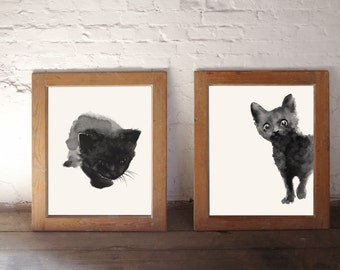 Black Cat Print Set 2 Watercolor Paintings, Two Black Kitten Kitty Home Decor
