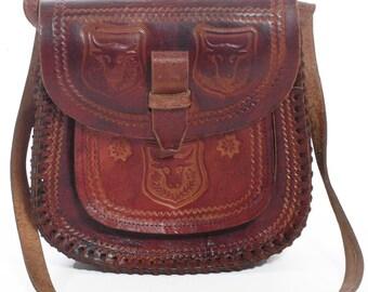 Vintage Brown Leather Tooled Shoulder Bag - www.brickvintage.com