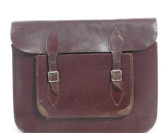 Vintage Brown Leather Satchel Bag - www.brickvintage.com