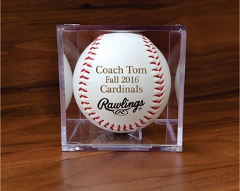 Engraved Baseball for Player or Coach, Team, Newborn, Ring Bearer in Display Box