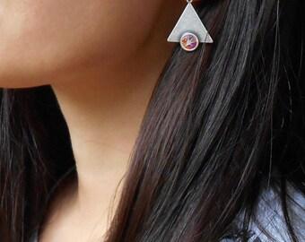 SALE Geometric Earrings,  Dangle earrings, Triangle earrings