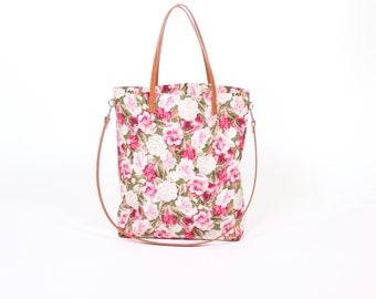 """Canvas bag """"Greta"""" green flowers //beige white striped with leather handles"""