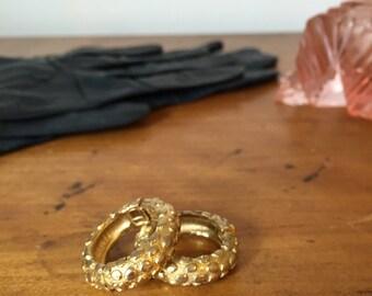 1960s Gold Clip On Hoop Earrings