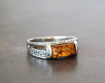 925 silver ring with amber for women