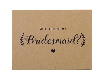 Kraft Bridesmaid Card ~ Bridesmaid Proposal ~ Ask Bridesmaid ~ Will You Be My Bridesmaid