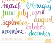 Months of the Year Watercolor Hand painted Lettering png clipart for calendars, words, quotes, for invitations, birthday, cursive