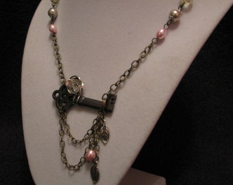 Steampunk Jewelry, Steampunk Rose and Key Necklace