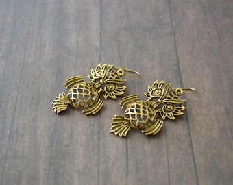Owl Earrings.Metal Earrings.Boho Earrings. Gold Metal Owl Earrings.Gift For Her.Gift For Mom.