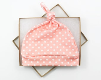Pink Polka Dot Newborn Hat/ Girl Baby Hat/ Organic Cotton Hat/ Baby Knotted Hat/ Knotted Cap/ Organic Cotton Baby Hat/ Newborn Infant Hat