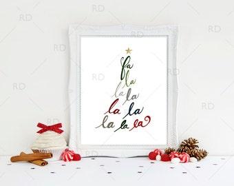 Fa la la deck the halls - PRINTABLE Wall Art / Deck the halls printable / Fa la la wall art / Fa la la la la printable / Christmas Art