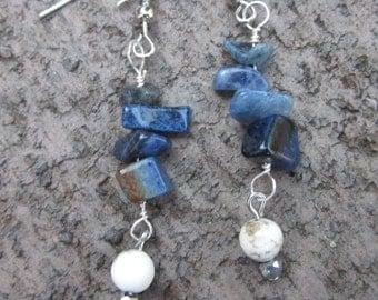 bohemian earrings blue sodalite earrings white earrings boho earrings dangle & drop earrings stone chips earrings stone earrings dainty