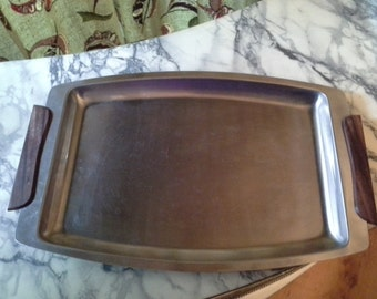 Vintage Stainless Steel Serving Tray