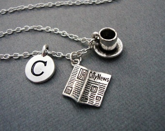 Newspaper and Coffee Cup Necklace, Morning Paper and Coffee Keychain, Newspaper Necklace, Sunday Paper and Coffee Charm Bangle Bracelet