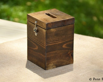 Everyday Rustic Wood Tip Jar Container