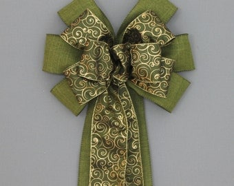 Moss Green Gold Swirl Christmas Bow - Christmas Wreath Bow, Christmas Garland Bow, Christmas Tree Bow, Fall Wreath Bow