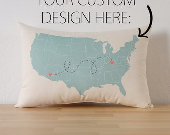 Personalized State to State USA Map Cotton Canvas Pillow - Map Pillow - Going Away Gift - Housewarming Gift - Long Distance Relationship