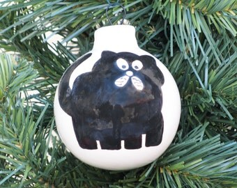 Hand-painted Ceramic Holiday Christmas Ball Ornament #859C - Black Kitty Cat