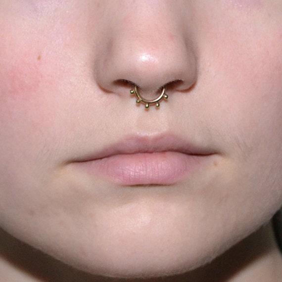 Gold Septum Ring - Septum Piercing 16 gauge - Nose Ring Hoop - Tragus Jewelry - Cartilage Earring - Daith Piercing - Forward Helix Earring