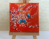 Tiny Orange and Gold Canvas, Pink Cherry Blossom with Blue Butterflies Original Acrylic Painting, Miniature Artwork, Art & Collectibles