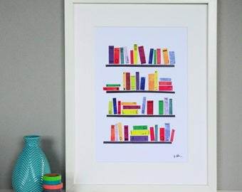 Bookshelves Collage Print