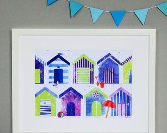 Beach Huts Collage Print