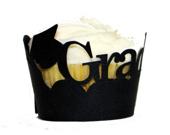 Black Graduate Cupcake Wrappers, Set of 12, Graduation, Handcrafted Party Decor, Party Supplies, Cupcake Decor