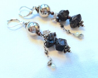 Silver and Black Earrings BB-77