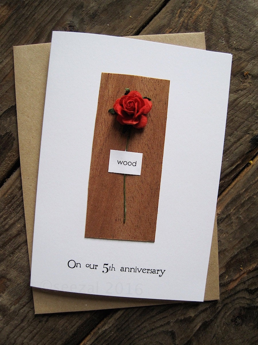 Gifts For Fifth Wedding Anniversary: 5th Wedding Anniversary Card WOOD Traditional Gift By