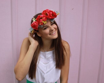 Pink, yellow and Dusty Miller flower Crown