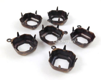 12x12mm Antique Brass Square Setting 1 Loop OPEN BACK Octagon Base 10pcs Fits 4470