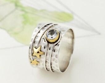 Boho Rings, Rings, Silver Rings, Star Ring, Silver, Topaz Rings, Boho Jewelry, Gemstone Rings, Chunky Rings, Boho jewellery, Handmade JR142