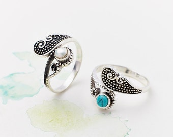Turquoise Rings, Gemstone Rings, Silver Rings, Boho Rings, Birthstone Rings, Pearl Rings, Boho Jewelry, Gypsy Rings, Bohemian Rings JR128