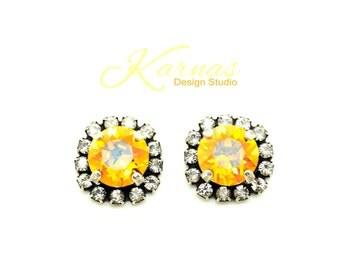 SUMMER BLUSH 8mm Crystal Halo Stud Earrings Swarovski Elements *Antique Silver *Karnas Design Studio *Free Shipping*