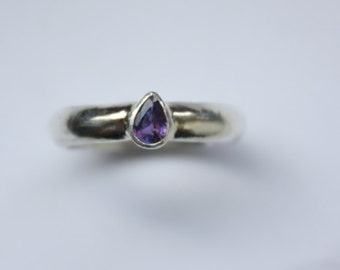 Purple Sapphire Sterling Silver Ring Size 6.75