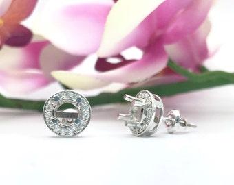 0.51CTW Halo Diamond Semi Mount Earrings in 14K White Gold