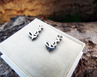 Love Earrings Studs Handmade Silver Valentine Valentine's Day Stainless Steel Jewelry