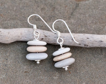 Stacked Beach Pebble Earrings, Petite Cairn Stone Earrings, Zen Earrings, Drilled Beach Stones, Beach Stone Earrings, Beige & Grey Earrings