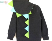 Size 7 Dinosaur Hoodie Costume with Green & Aqua Spikes