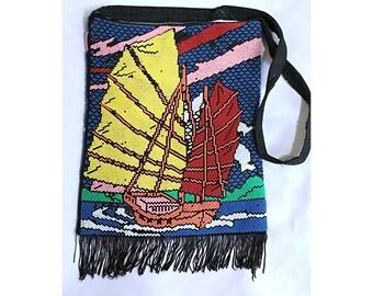 Vintage pearl bag Beach shoulder bag Nautical Summer Sailor Vacation Fringe bag Cloth bag Pearl decorated  tote bag