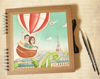 Photo album with custom illustration