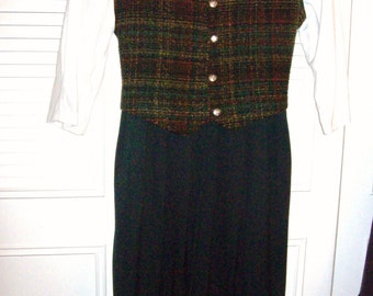 Vintage Miss Darby School Marm  Maxi Dress Size 14 Petite Charming Career School Find