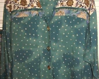 Vintage Two Piece Maxi Fantastic Dress OverBlouse Elastic Waist Size 6 - 8 see details