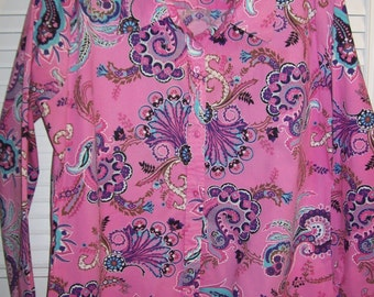Vintage Bamboo Traders Pink Paisley Cotton Long-Sleeved Shirt XL