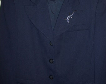 Vintage Adolfo Navy Career Blazer Perfectly Perfect Vintage Beautiful Size 14