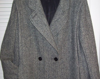 Vintage Wool Herringbone Classic Preppy Career Coat by Wellington Size 14