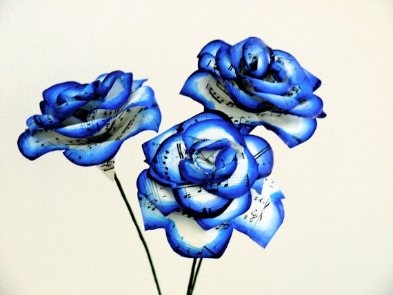 dark blue music roses sheet music rose painted vintage, Ideas