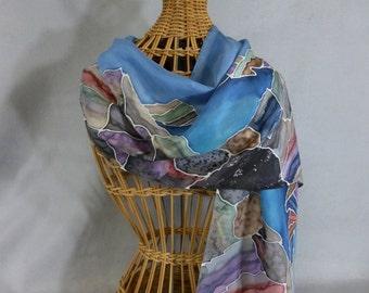 "Hand Painted Silk Scarf ""Sierra Landscape"""