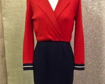 St. James red, navy and gold knit dress size 10 / 12 excellent condition