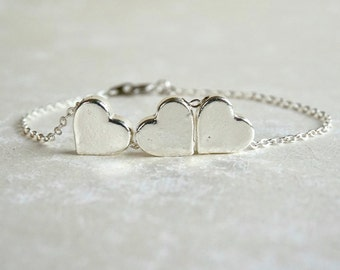 3 Heart Silver Bracelet, Thank You, Sister, Mother Daughter, Bridesmaids, Delicate, Meaningful Jewelry, Wedding, Best Friend, Birthday Gift