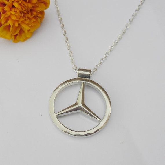 mercedes benz merc silver necklace pendant or mirror dangler